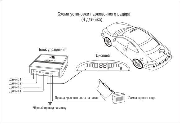 подключения парковочный радар схема